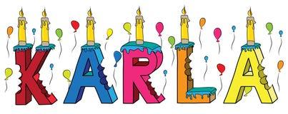 Bolo de aniversário colorido mordido da rotulação 3d de Karla nome fêmea com velas e balões ilustração royalty free