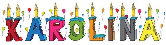 Bolo de aniversário colorido mordido da rotulação 3d de Karolina nome fêmea com velas e balões ilustração royalty free
