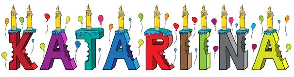 Bolo de aniversário colorido mordido da rotulação 3d de Katariina nome fêmea com velas e balões ilustração stock