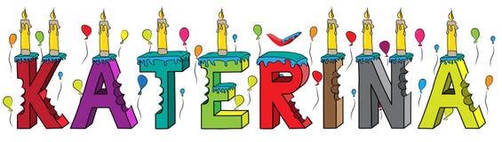 Bolo de aniversário colorido mordido da rotulação 3d de Katerina nome fêmea com velas e balões ilustração stock
