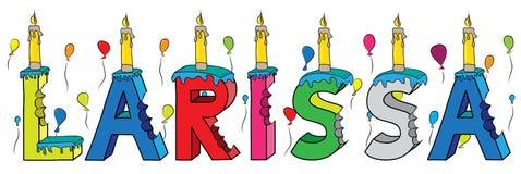 Bolo de aniversário colorido mordido da rotulação 3d de Larissa nome fêmea com velas e balões ilustração stock