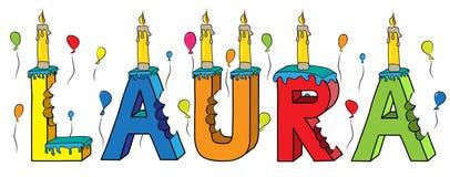 Bolo de aniversário colorido mordido da rotulação 3d de Laura nome fêmea com velas e balões ilustração stock