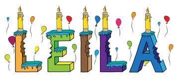 Bolo de aniversário colorido mordido da rotulação 3d de Leila nome fêmea com velas e balões ilustração do vetor