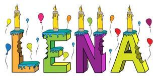 Bolo de aniversário colorido mordido da rotulação 3d de Lena nome fêmea com velas e balões ilustração stock