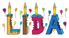 Bolo de aniversário colorido mordido da rotulação 3d de Lida nome fêmea com velas e balões ilustração do vetor