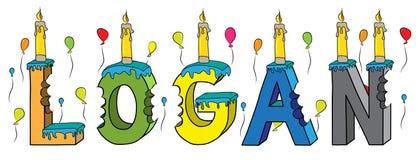 Bolo de aniversário colorido mordido da rotulação 3d de Logan nome masculino com velas e balões ilustração stock