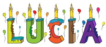 Bolo de aniversário colorido mordido da rotulação 3d de Lucia nome fêmea com velas e balões ilustração stock