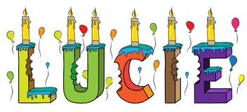 Bolo de aniversário colorido mordido da rotulação 3d de Lucie nome fêmea com velas e balões ilustração stock