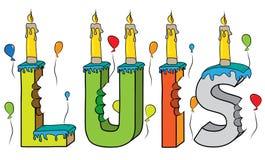 Bolo de aniversário colorido mordido da rotulação 3d de Luis nome masculino com velas e balões ilustração royalty free