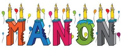 Bolo de aniversário colorido mordido da rotulação 3d de Manon nome fêmea com velas e balões ilustração royalty free