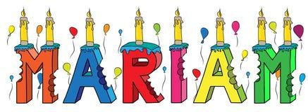 Bolo de aniversário colorido mordido da rotulação 3d de Mariam nome fêmea com velas e balões ilustração stock
