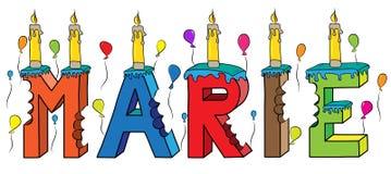 Bolo de aniversário colorido mordido da rotulação 3d de Marie nome fêmea com velas e balões ilustração stock
