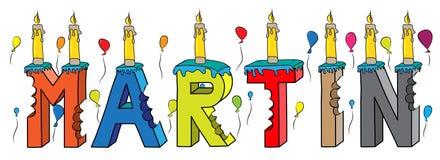 Bolo de aniversário colorido mordido da rotulação 3d de Martin nome masculino com velas e balões ilustração do vetor