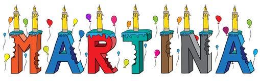Bolo de aniversário colorido mordido da rotulação 3d de Martina nome fêmea com velas e balões ilustração stock