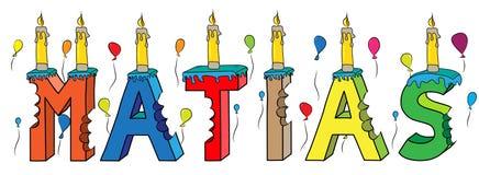 Bolo de aniversário colorido mordido da rotulação 3d de Matias nome masculino com velas e balões ilustração royalty free