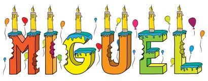 Bolo de aniversário colorido mordido da rotulação 3d de Miguel nome masculino com velas e balões ilustração do vetor