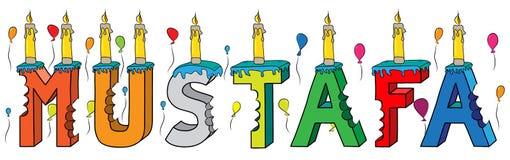 Bolo de aniversário colorido mordido da rotulação 3d de Mustafa nome masculino com velas e balões ilustração do vetor
