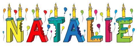 Bolo de aniversário colorido mordido da rotulação 3d de Natalie nome fêmea com velas e balões ilustração stock