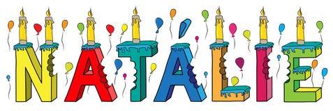 Bolo de aniversário colorido mordido da rotulação 3d de Natalie nome fêmea com velas e balões ilustração do vetor