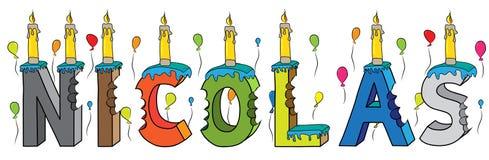 Bolo de aniversário colorido mordido da rotulação 3d de Nicolas nome masculino com velas e balões ilustração stock