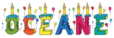 Bolo de aniversário colorido mordido da rotulação 3d de Oceane nome fêmea com velas e balões ilustração do vetor