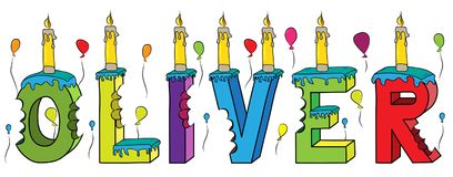 Bolo de aniversário colorido mordido da rotulação 3d de Oliver nome masculino com velas e balões ilustração royalty free