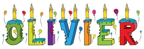 Bolo de aniversário colorido mordido da rotulação 3d de Olivier nome masculino com velas e balões ilustração stock