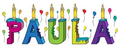 Bolo de aniversário colorido mordido da rotulação 3d de Paula nome fêmea com velas e balões ilustração royalty free