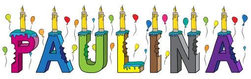 Bolo de aniversário colorido mordido da rotulação 3d de Paulina nome fêmea com velas e balões ilustração do vetor
