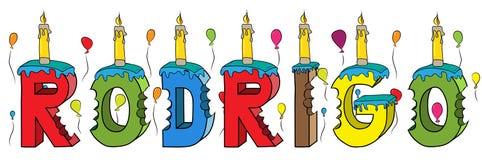 Bolo de aniversário colorido mordido da rotulação 3d de Rodrigo nome masculino com velas e balões ilustração stock