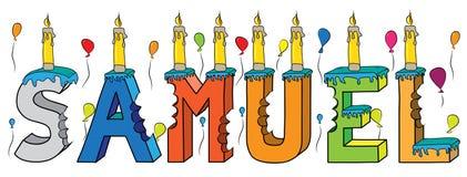 Bolo de aniversário colorido mordido da rotulação 3d de Samuel nome masculino com velas e balões ilustração stock