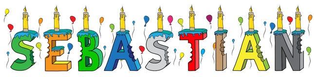Bolo de aniversário colorido mordido da rotulação 3d de Sebastian nome masculino com velas e balões ilustração do vetor