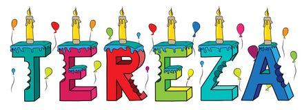 Bolo de aniversário colorido mordido da rotulação 3d de Tereza nome fêmea com velas e balões ilustração stock