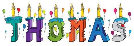 Bolo de aniversário colorido mordido da rotulação 3d de Thomas nome masculino com velas e balões ilustração do vetor