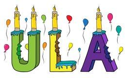 Bolo de aniversário colorido mordido da rotulação 3d de Ula nome fêmea com velas e balões ilustração stock