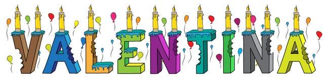 Bolo de aniversário colorido mordido da rotulação 3d de Valentina nome fêmea com velas e balões ilustração stock