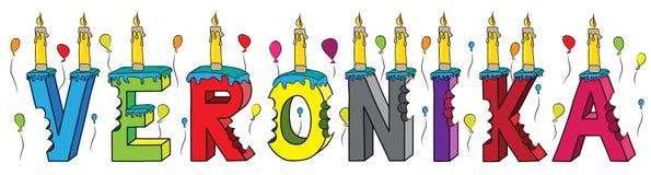 Bolo de aniversário colorido mordido da rotulação 3d de Veronika nome fêmea com velas e balões ilustração royalty free