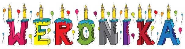Bolo de aniversário colorido mordido da rotulação 3d de Weronika nome fêmea com velas e balões ilustração royalty free