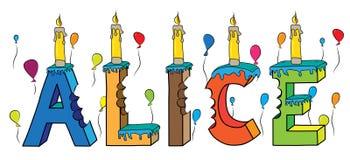 Bolo de aniversário colorido mordido nome da rotulação 3d de Alice ilustração do vetor