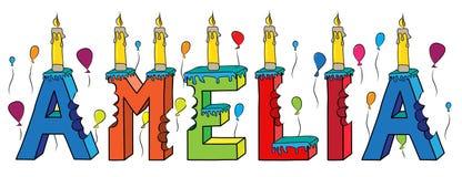 Bolo de aniversário colorido mordido nome da rotulação 3d de Amelia ilustração stock