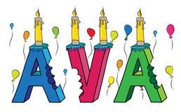 Bolo de aniversário colorido mordido nome da rotulação 3d de Ava com velas e balões ilustração stock