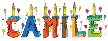 Bolo de aniversário colorido mordido nome da rotulação 3d de Camile ilustração stock