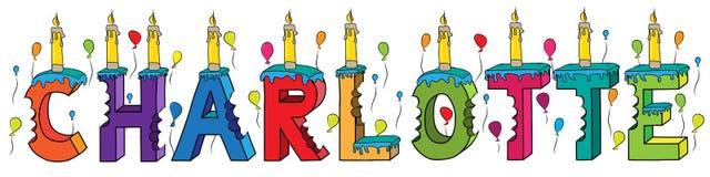 Bolo de aniversário colorido mordido nome da rotulação 3d de Charlotte com velas e balões ilustração do vetor
