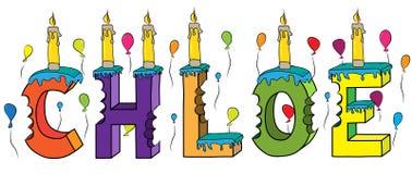 Bolo de aniversário colorido mordido nome da rotulação 3d de Chloe ilustração stock