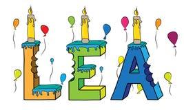 Bolo de aniversário colorido mordido nome da rotulação 3d do pasto com velas ilustração royalty free