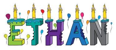 Bolo de aniversário colorido mordido nome da rotulação 3d de Ethan com velas e balões ilustração royalty free