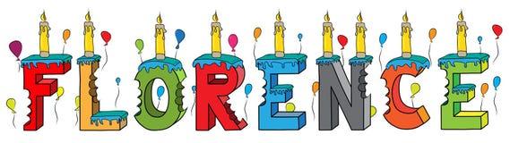 Bolo de aniversário colorido mordido nome da rotulação 3d de Florença ilustração do vetor