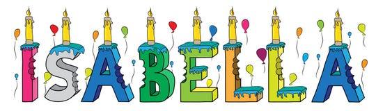 Bolo de aniversário colorido mordido nome da rotulação 3d de Isabella com velas e balões ilustração do vetor