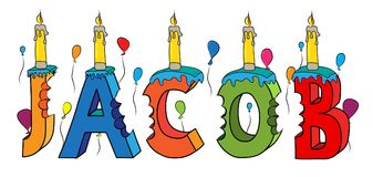 Bolo de aniversário colorido mordido nome da rotulação 3d de Jacob com velas e balões ilustração stock