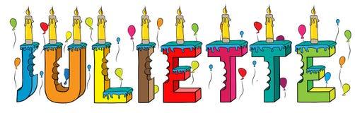 Bolo de aniversário colorido mordido nome da rotulação 3d de Juliette ilustração royalty free